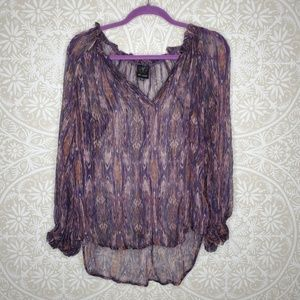 Ella Moss Silk Purple Peasant Top S 146M16